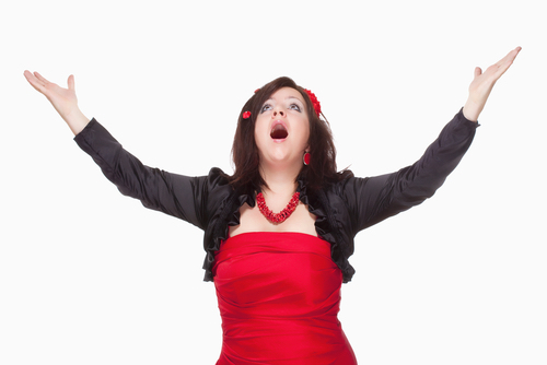 Woman In Red Dress Singing Opera